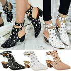 Womens Ladies Studded Slip On Buckle Ankle Strap Low Block Heel Western Boots Sz