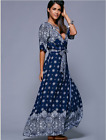 Gorgeous Boho Floral Bell Sleeves Hippie Holiday Maxi Long Dress