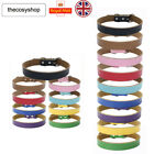 UK SELLER Real Leather Dog Puppy Collar Tan Pink Black Red Choose From 9 Colour