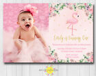 Custom Printable Girls Birthday Photo Any Age Floral Flamingo Pink Gold Pretty