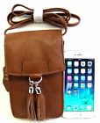 Heavy Duty Leather Cross Body Bag for Smart Phone + All Essential Tassel 5 Color