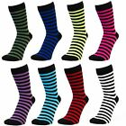 Ladies Women Thin Stripes Mid Calf Ankle Crew Short Striped Stripe Socks New Lot