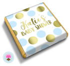 Personalised BLUE & GOLD DOT Boy's Baby Shower Party Bag Favour Chocolates