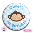 Personalised LITTLE MONKEY Jungle Blue Boy's Birthday Party BADGE (58mm)