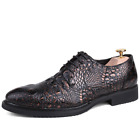 Mens Ballroom Oxford Lace up Snake Skin Leather Formal Luxury Male Party Shoes