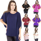 Ladies Womens Chiffon Blouse Tops Batwing Sleeve Loose Work Casual Top Size 8-22