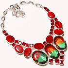 Faceted Multi Tourmaline & Moazmbique Garnet,Red Onyx Jewelry Necklace 18""