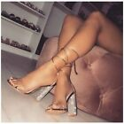 Cape Robbin FIORA-1 Rose Gold Faux Leather Clear Tie Up Chunky Rhinestone Heel