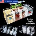 Acrylic Aquarium Baby Betta Fish Tank LED Light Breeding Hatchery Box 2/3/4 Grid