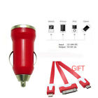 Universal Mini USB Car Charger 1-Port Adapter for iPhone Samsung HTC Red Cable