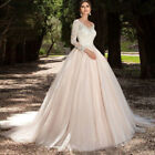 2018 Lace Appliques Cowl Ball Gowns Zipper princess Wedding Dresses Custom made