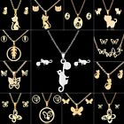 Fashion Stainless Steel Chain Charm Cat Pendant Necklace Earrings Jewelry Set