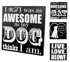Black and White Wooden Animal Signs for Pet Lovers - Cat Dog Wall Decor