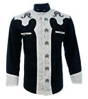 Men's Charro Shirt Camisa Charra El General Western Wear Black White Long Sleeve