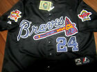 NEW BLACK! Atlanta Braves Throwback #24 Deion Sanders Dual patch Stitched Jersey