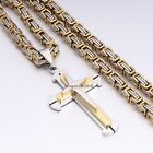 Mens Chain Gold Silver Byzantine Box Stainless Steel Cross Pendant Necklace