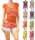 Solid Color All-Over-Lace Round Neck Short Sleeve Sexy Top S ~ L