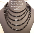 Clear or Black Faceted Glass Crystal Bead Necklace FREE UK 2nd Class Post