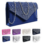Women Crystal Evening Party Prom Wedding Clutch Handbag Shoulder Chain Bag image
