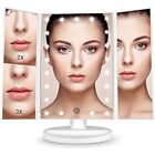 Makeup Countertop Vanity Mirrors With 3x/2x Magnification,Trifold 21 Led Screen,