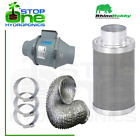 """4"""" Hydroponic Extraction Kit Rhino Hobby Carbon Filter RAM Fan Ducting & Clips"""