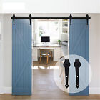 4FT~16FT Heart Shape Wood Sliding Barn Door Hardware Closet Double Kit NotBypass