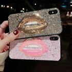Fashion Bling Sparkle Glitter Kiss Lips Soft Case Cover for iPhone X 6S 7 8 Plus