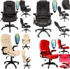 6 Point Massage & Heat Office Computer Chair Faux Leather Swivel Reclining