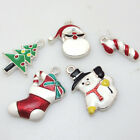New Alloy Santa Christams Tree Snowman Claus Sock Pendants Charms Enamel