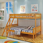 3FT 4FT Triple Wooden Bunk Bed Kids Children Natural Pine Solid Wood Bed Frame