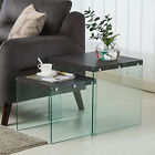 Nest of 2 Wooden Surface + Glass Stand Coffee Table End / Side Table Living Room