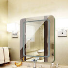 Large Mirror Rectangular Wall-Mounted Wooden Frame Vanity Mirror Glass Bathroom