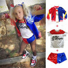 Kids Suicide Squad Harley Quinn Party Dress Cosplay Pants Shorts Coat Suit Girl