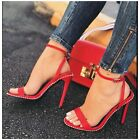 red ankle heels - So Me BLAZE Red Faux Leather Open Toe Ankle Strap Stiletto Heel Stud Detailing