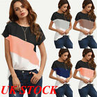 UK Fashion Womens Summer Short Sleeve Blouse T Shirt Ladies Loose Casual Tops