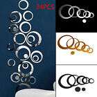 24 Pcs Circle Mirror Wall Stickers Removable Decal Acrylic Art Mural Home Decor