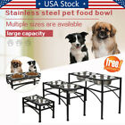 Dog Pet Double Elevated Raised Feeder Bowl Stainless Steel Food Water Stand Tray