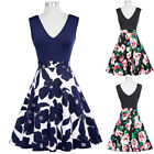 Dress Size Cocktail Pinup Summer Floral Retro Vintage Party V-neck Sleeveless