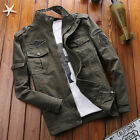 Mens Military Stand Collar Jacket Casual Outdoor Tops Business Coat Work Clothes