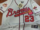 NEW!! Atlanta Braves Throwback #23 David Justice Dual patch Stitched Jersey Gray