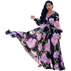 Womens Sexy Deep V Neck Floral Long Dress Long Sleeve Print Maxi Cocktail Dress