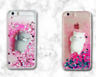 Bling Glitter Pink Quicksand 3D Squishy lazy cat Soft Dynamic Back Cover Case F