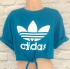 Reworked ADIDAS ORIGINALS Crop Top Tie At The Front T shirt Turquoise ONE SIZE