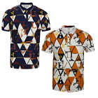 Mens Polo Neck T Shirt Big U Letter Print Collar 3 Buttons Stretch Slim Fit Top