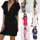 Women's sexy beach Swimwear Bikini skirt Dress Deep V Neck Cover Up OS