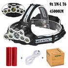 9X XML T6 LED 45000Lm Headlamp ZOOM Head Light Torch Flashlight 2 18650 Cable