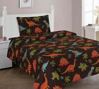 Внешний вид - Dinosaur Brown Orange Lime Printed Sheet Set With Pillowcase Boys / Kids/ Teens