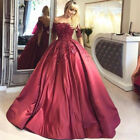 Wine Red Ball Gown Prom Dress Off shoulder Beaded Formal Evening Weding Dresses