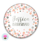Personalised SPOT Silver Foil POCKET MIRROR 58mm Bridesmaid/Hen/Favour/Gift