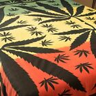 FairTrade Rasta ganja weed leaf bedspread throw wallhanging Red yello Gold Green